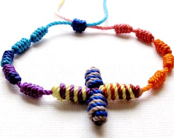 Knotted Rosary Bracelet•Colorful Fiesta Mix•100% Nylon Cord Rosary Bracelet•Friendship Bracelet•KN0017•Our Lady Beads