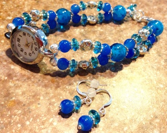 Watch, beaded blue glass watch, quartz watch with earrings