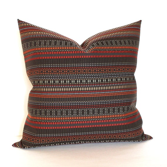 Rust brown throw pillow cover modern stripe upholstery fabric - Fabric for throw pillows ...