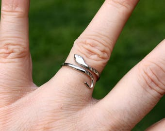 Sterling Silver Snake Ring - Silver Bypass Ring - Silver Serpent Ring - Vintage Ring - Slither - Adjustable Ring - Signed Ring Size 6