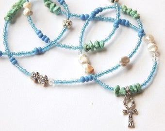 Turquoise Waist Beads, Egyptian Waist Beads, Ankh Belly Chain, Blue Belly Beads, African Waist Beads, Gemstone Waist Beads