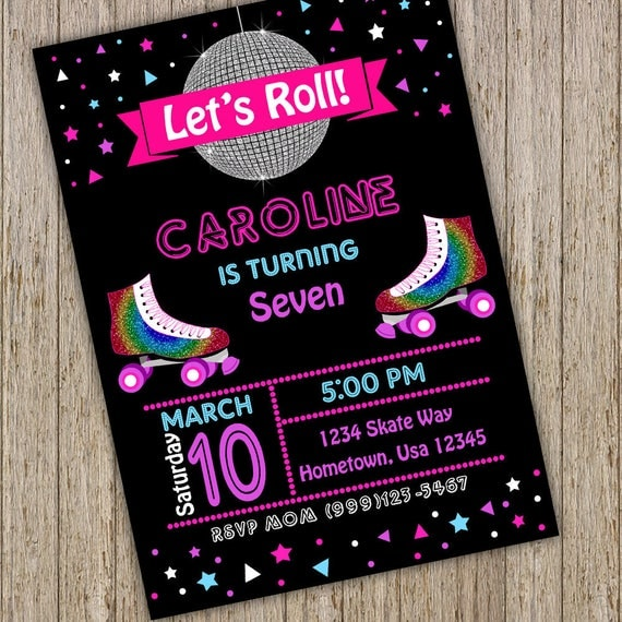 roller skating birthday party invitation roller skating invitations