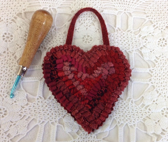 Medium Red Heart, Hand Hooked Ornament, J612, Hooked Heart with Hanger, Primitive Rug Hooking, Folk Art Ornament