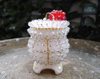 Christmas Beaded Ornament Ice Cream Sundae Red Cherry Unusual Hand Made Ornament Vintage 1960's Decoration Pins and Beads Table Top or Tree