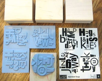 Stampin Up Rubber Stamps Set Of 4 Alphabet Soup
