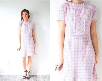 20% OFF JULY 4th SALE Vintage mod checkered pink jumper dress // pink plaid short sleeve 1960's dress // summer picnic dress // plaid classi