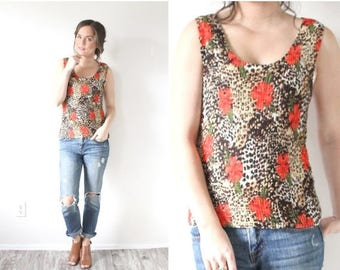 40% OFF CHRISTMAS in JULY Vintage Small boho rose floral tank top // Floral animal print tank top// retro boho // bohemian blouse // stretch