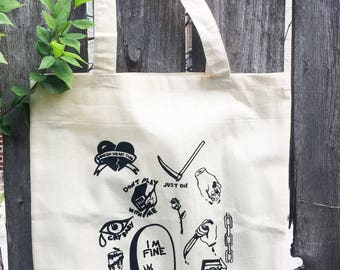 Hand Screen-printed Flash Tote Bag
