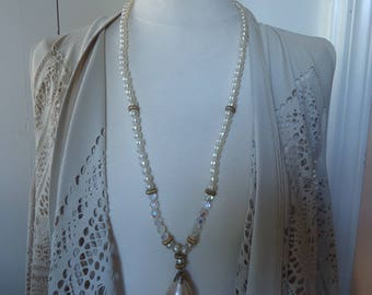 """Vintage 31"""" Off-White Baroque Glass Pearl and Clear Glass Necklace w/ Large Teardrop Pearl Pendant and Gold Tone Accents"""