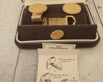Vintage Swank Brand Gold Tone Cuff Link and Tie Tac Set, New In Box