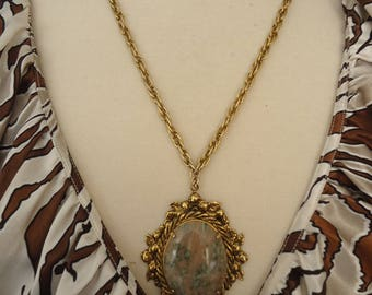"Vintage Stone Pendant in Fancy Antique Gold Tone Setting on Thick Textured Cable Gold Tone Chain, 24"" Long"