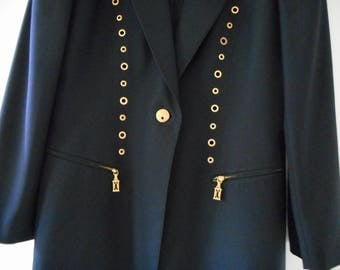 ESCADA Dress Jacket Suit Size 10 Navy Blue Coast Blazer Wiggle Shift Gold Studs 1990s HapaChico