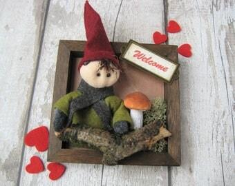 Cute Scandinavian Christmas Decor - Gnome - Elf - Nisse - Tomte - Tonttu in a Frame - Scandi Decoration - Xmas - Wall hanging - Customised