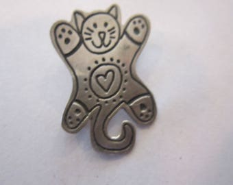 sterling kitten pin taxco mexico pin vintage taxco sterling pin