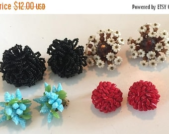 SUMMER SALE Destash Craft Lot of Vintage and Salvaged Beaded Cluster Knot Bob Earrings