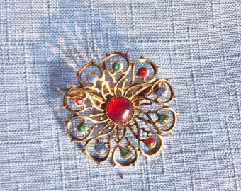 Brooch Pin Round Multicolor Rainbow Rhinestones Vintage Wedding Jewelry Jewellery Bridal Sash Victorian Edwardian Revival Gift Guide Women