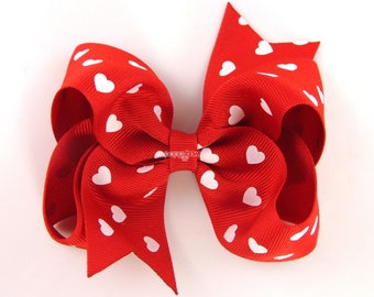 """Valentines Day Hair Bow, Valentines Hair Bow, Red and White Hair Bow, Heart Hair Bow, Hearts, Girls Baby 4"""" 4 Inch Barrettes Clip Cute Bows"""