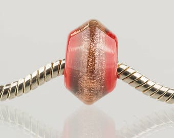 Red and Gold Sparkle - Big Hole Charm Bead