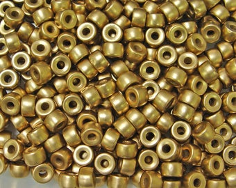 Gold color Czech Glass 9x6mm Pony Crow Roller Large Hole Beads 25pc