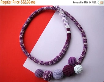 ON SALE 15 % SALE Crochet Necklace , Crochet Jewelry , Women Accessories , Choker , Crochet Tie Necklace