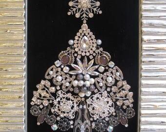 Jeweled Framed Jewelry Christmas Tree Silver Black Pearls