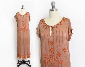 Vintage 1920s Dress - Brown Silk Floral Orange Beaded Flapper Deco - Small