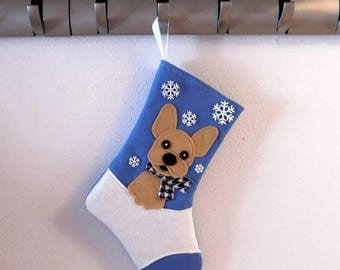 CHRISTMAS IN JULY Fawn French Bulldog Dog Personalized Christmas Stocking by Allenbrite Studio