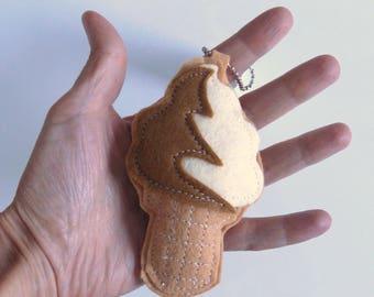 CHRISTMAS IN JULY Refreshing Ice Cream Cone Soft Serve Keychain Mini Mascot Charm by Allenbrite Studio