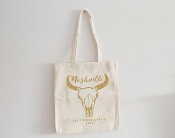ON SALE Nashville bachelorette, Custom tote bag, bachelorette tote bag, bachelorette party favor, personalized gift, bridesmaid tote