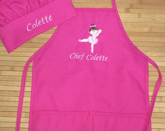 Personalized Ballerina Child Apron Kids Girls Kitchen Chef Hat Bakery