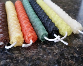 Birthday Candles, Fall, Thanksgiving, Beeswax Candle, Hand Rolled, Set of 7-4 inch candles, Beeswax, Birthday, Candle, Multicolor