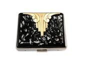 Art Deco 7 Day Pill Box in Hand Painted Enamel Black Ink Swirl Design Personalized and Color Options