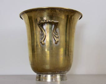French Vintage Champagne Bucket, Footed Cooler, Brass Colored Metal
