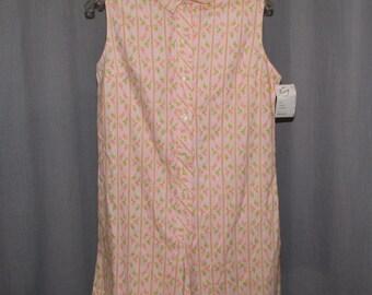 Vintage 1960s 1pc Culotts Jumper Skorts Shorts Peach Print Cotton Unworn/ Deadstock Perry Classics Tag Sm