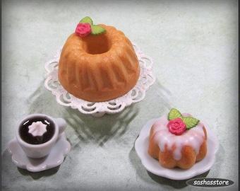 Miniature kouglof/pound cake, 12th scale miniature food for your dollhouse