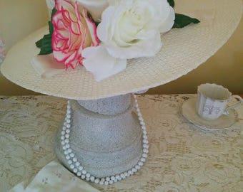 English Tea Party Hat Set, English Garden, High tea, Vintage Gloves & Vintage necklace, Tea Party Hat, Wedding Hat, Pink Rose, New, Handmade
