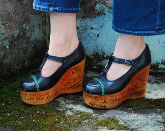 Vintage 70s Wedge Platform Wood Shoes