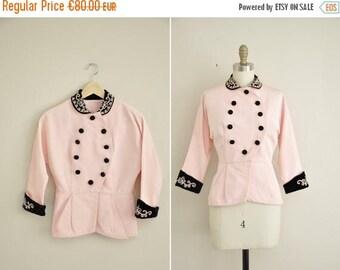 ON SALE vintage 1940s jacket / 40s jacket / pink nipped waist jacket