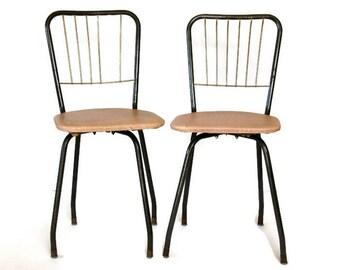 Vintage Kids Chairs, Mid Century Pair, Swivel Chairs, Pink Vinyl Seats, Black Gold Metal, Comfort Line Chairs