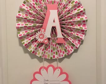 Baby Door Hanger, Great for Hospital Door Announcement, Letter A, Baby Girl, Baby Shower Decoration, Shower Gift, Pink,White and Green