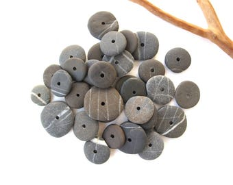 Rock Donut Beads Drilled Stone Spacers Beach Stone Beads Mediterranean Natural Stone Beads Diy Jewelry Pairs SMALL DARK WHEELS 12-18 mm