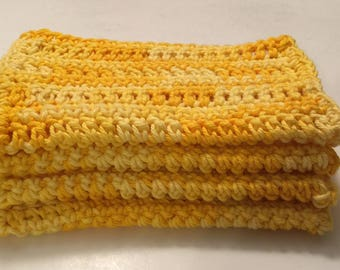 4 Large dish cloths/ dish rags/ wash cloths made with 100% cotton yarn in the color of Sunshine Multi