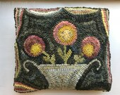 Folk Art Primitive Wool Hooked Rug Flower Basket Pillow
