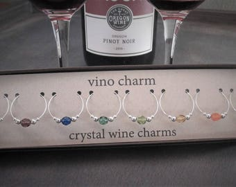 8 crystal wine charms | gift box | silver wine glass charms - unique wine gift - wine lover gift - wine markers - drink charms - wine SPC8-1