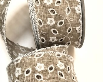 Eyelet Linen Ribbon, Wired, Embroiered Flowers and Eyelet lace ribbon, Taupe and White, Weddings, Special Occasions, 2 YARDS, 2.5 inch wide