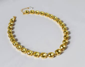 Citrine Yellow Collet Necklace, Yellow Crystal Parure, Riviere Necklace, Regency Jewelry, 19th Century Costume, Anna Wintour, Yellow Citrine