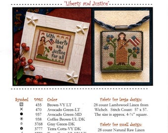 Little House Needleworks: Liberty and Justice - an All Dolled Up! Cross Stitch Pattern