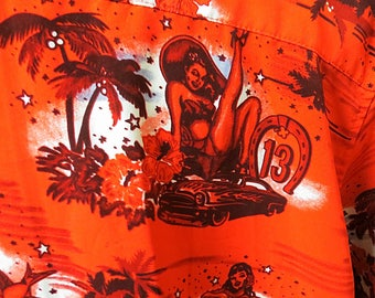 Mens Vintage Tropical Retro Shirt Lsrge #113