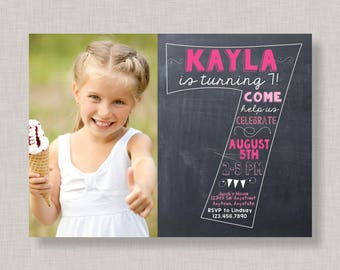 Seventh Birthday Invitation, 7th Birthday Invitation, Girl Birthday Invitation, Photo Invitation, 7th, Number 7, Seventh Birthday