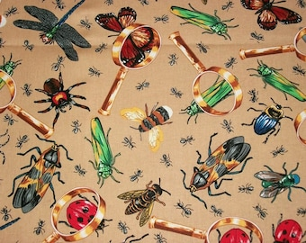 Bug Fabric, By The Yard, Hi Fashion Fabrics, Lady Bug Fabric, Quilting Sewing Crafting Fabric, Novelty Fabric, Nature Fabric, Bumble Bees